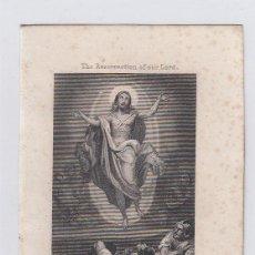 Arte: LA RESURRECCIÓN DE NUESTRO SEÑOR. PEQUEÑO GRABADO RELIGIOSO. TURGIS. PARIS.TAMAÑO: 13 X 8,5 CTMS.. Lote 212937532
