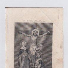 Arte: EL SALVADOR DEL MUNDO. PEQUEÑO GRABADO RELIGIOSO. TURGIS. PARIS.TAMAÑO: 13 X 8,5 CTMS.. Lote 212937578