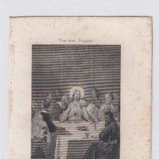 Arte: LA CENA. PEQUEÑO GRABADO RELIGIOSO. TURGIS. PARIS.TAMAÑO: 13 X 8,5 CTMS.. Lote 212937596