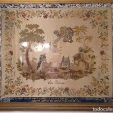 Arte: SAN RAMON SIGLO XIX SEDA BORDADA A MANO CARAS DE NACAR TEMA RELIGIOSO 1861. Lote 212974275
