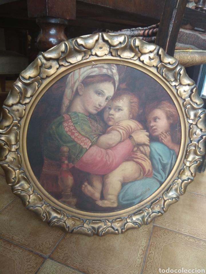 Arte: Óleo Sobre Lienzo Virgen de la Silla - Foto 2 - 213391132