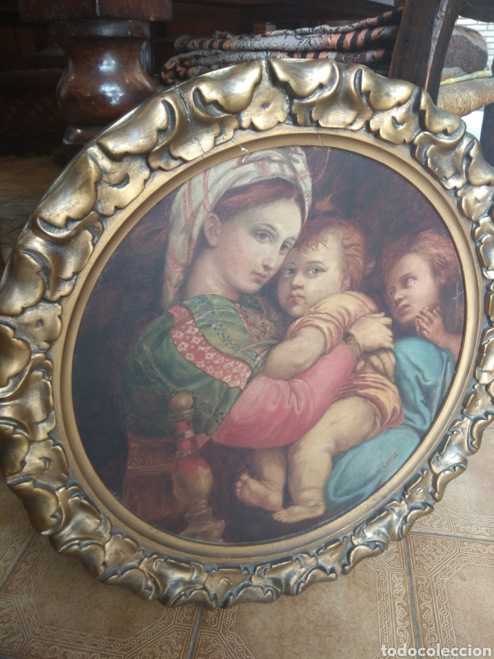 Arte: Óleo Sobre Lienzo Virgen de la Silla - Foto 3 - 213391132