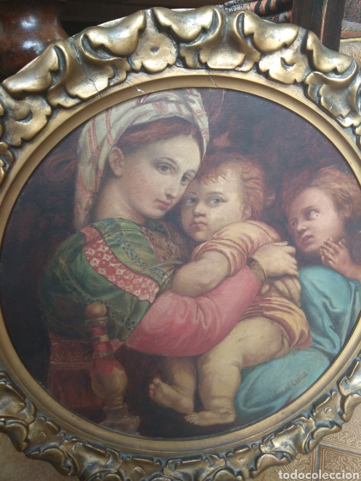 Arte: Óleo Sobre Lienzo Virgen de la Silla - Foto 4 - 213391132