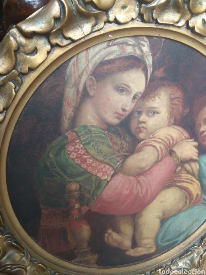 Arte: Óleo Sobre Lienzo Virgen de la Silla - Foto 5 - 213391132