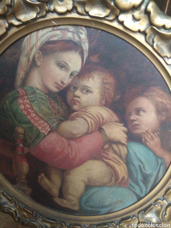 Arte: Óleo Sobre Lienzo Virgen de la Silla - Foto 6 - 213391132