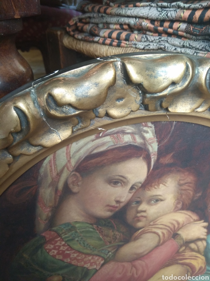Arte: Óleo Sobre Lienzo Virgen de la Silla - Foto 13 - 213391132