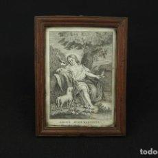 Arte: ANTIGUO GRABADO RELIGIOSO SAN BAUTISTA FIRMADO Y ENMARCADO SIGLO XVIII-XIX. Lote 213427260