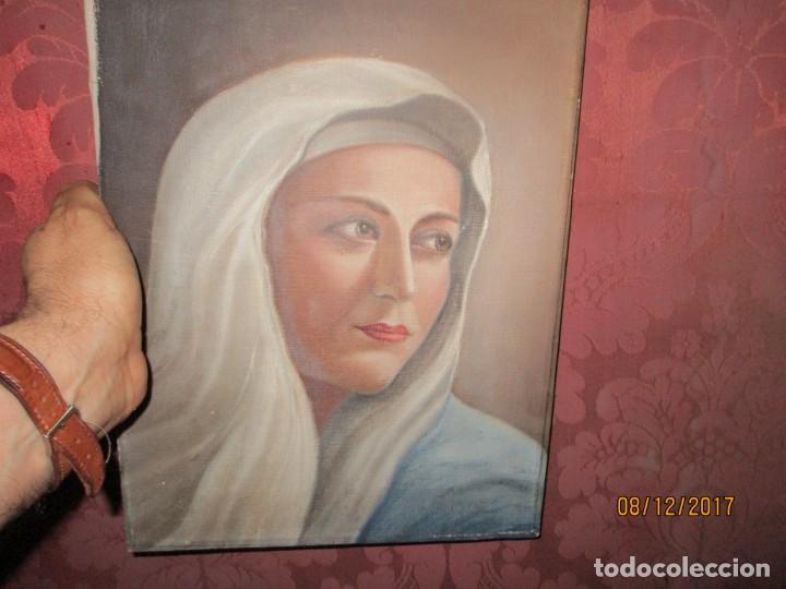ANTIGUA PINTURA VIRGEN OLEO EN LIENZO CIRCULO DE GASTON CASTELLO ? ALICANTE (Arte - Arte Religioso - Pintura Religiosa - Oleo)