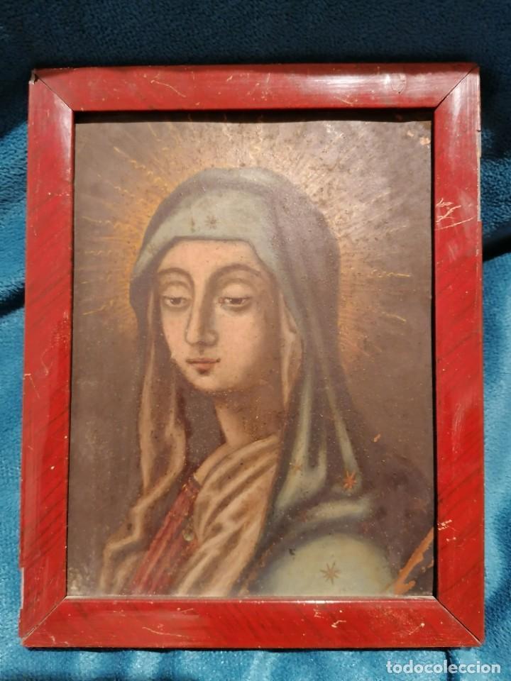 PINTURA DE VIRGEN ÓLEO SOBRE COBRE (Arte - Arte Religioso - Pintura Religiosa - Oleo)