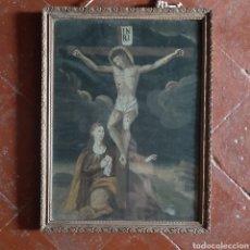 Arte: OLEO SOBRE LIENZO SIGLO XVII / CALVARIO / VIRGEN JESÚS CRUZ / 50,5CM X 38,5CM. Lote 213562205