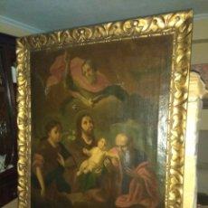 Arte: OLEO SOBRE LIENZO ADORACIÓN AL NIÑO JESÚS XVIII - XIX. Lote 101393308