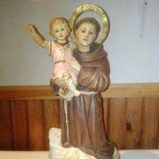 Art: ANTIGUA Y RARA IMAGEN DE SAN ANTONIO CON EL NIÑO JESÚS SOBRE UNA NUBE. OLOT. 43 CM. Lote 213637346