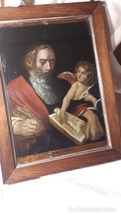 Arte: SAN MATEO. GRABADO Y PINTADO DETRÁS DEL CRISTAL. S. XIX. - Foto 2 - 257491325