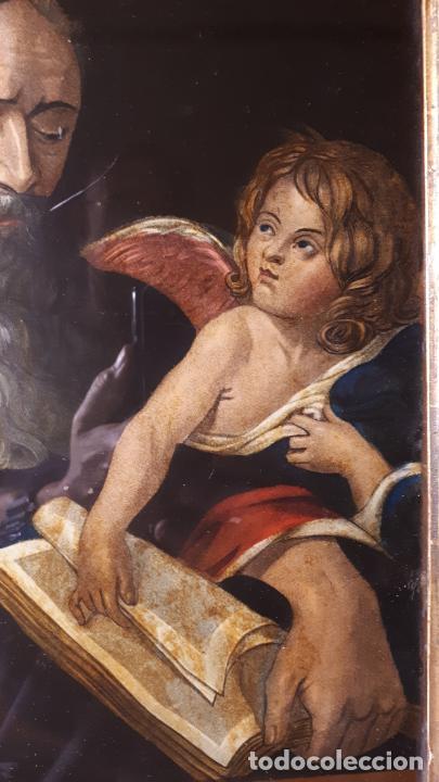 Arte: SAN MATEO. GRABADO Y PINTADO DETRÁS DEL CRISTAL. S. XIX. - Foto 3 - 257491325