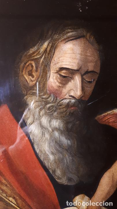 Arte: SAN MATEO. GRABADO Y PINTADO DETRÁS DEL CRISTAL. S. XIX. - Foto 4 - 257491325