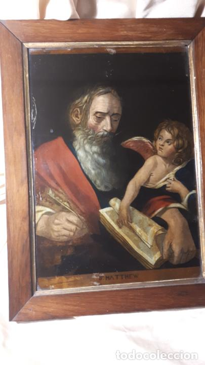 SAN MATEO. GRABADO Y PINTADO DETRÁS DEL CRISTAL. S. XIX. (Arte - Arte Religioso - Pintura Religiosa - Oleo)