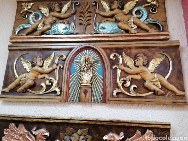 Arte: relieve de madera de abedul de Virgen del Pilar con angeles - Foto 2 - 99787031