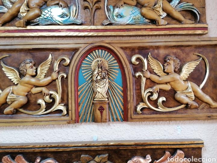 Arte: relieve de madera de abedul de Virgen del Pilar con angeles - Foto 3 - 99787031