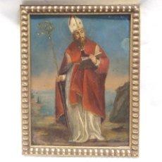 Arte: SAN NARCISO ÓLEO SOBRE COBRE S XVIII. MED. 19 X 24 CM. Lote 213888431