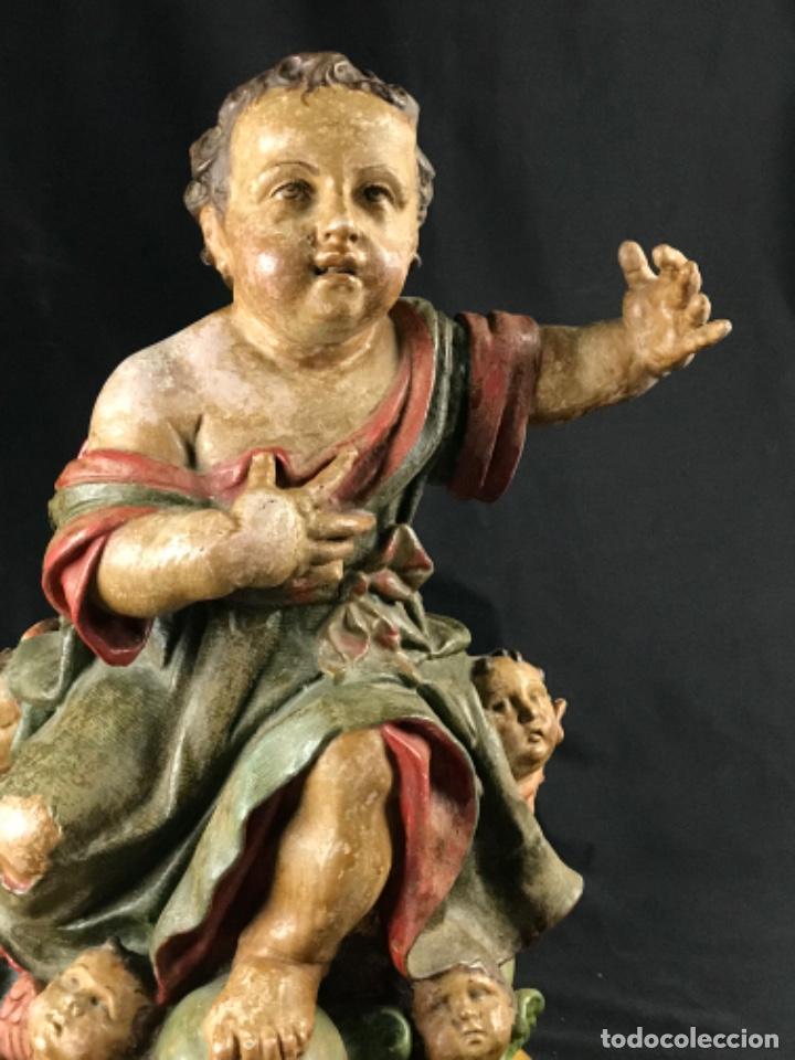 Arte: IMPORTANTE NIÑO DE PLOMO SAN JUANITO ESCUELA ANDALUZA JOSE RISUEÑO O PEDRO ROLDAN SIGLO XVIII - Foto 4 - 214019711