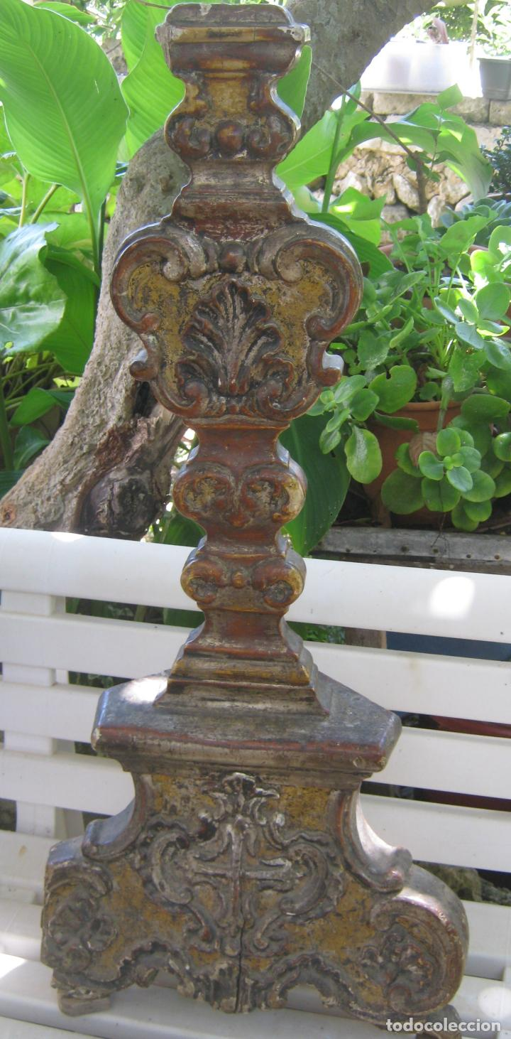 Arte: Impresionante pie o peana s.XVIII para Cruz Procesional Reliquia etc Blason Cruz flordelisada Orden - Foto 2 - 214051868
