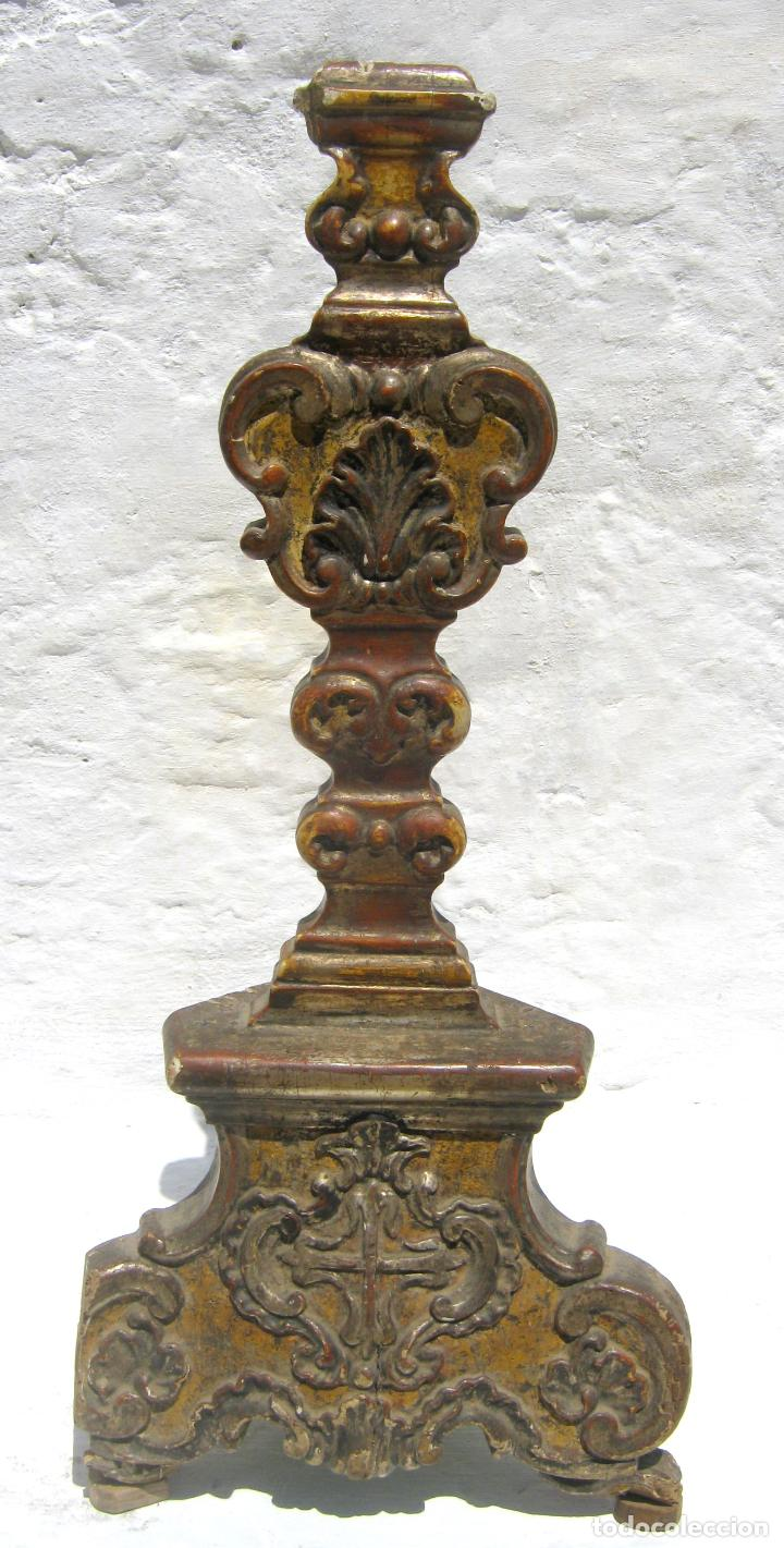 Arte: Impresionante pie o peana s.XVIII para Cruz Procesional Reliquia etc Blason Cruz flordelisada Orden - Foto 3 - 214051868
