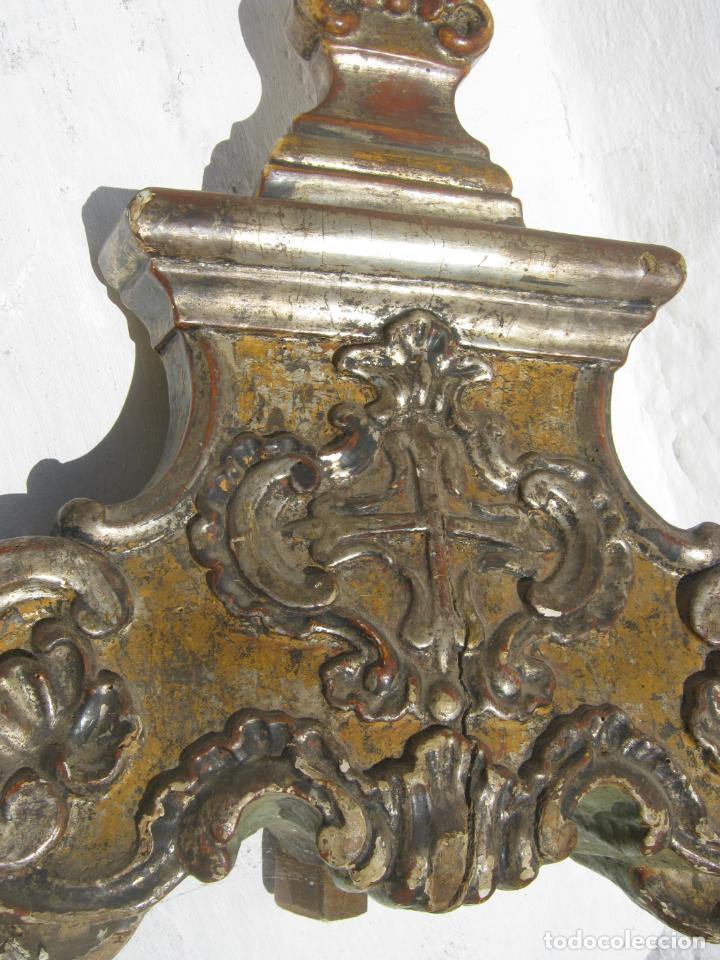 Arte: Impresionante pie o peana s.XVIII para Cruz Procesional Reliquia etc Blason Cruz flordelisada Orden - Foto 4 - 214051868