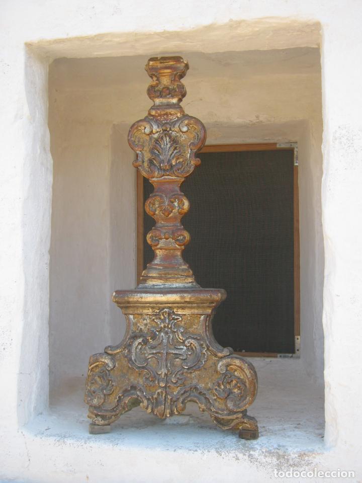 IMPRESIONANTE PIE O PEANA S.XVIII PARA CRUZ PROCESIONAL RELIQUIA ETC BLASON CRUZ FLORDELISADA ORDEN (Arte - Arte Religioso - Escultura)