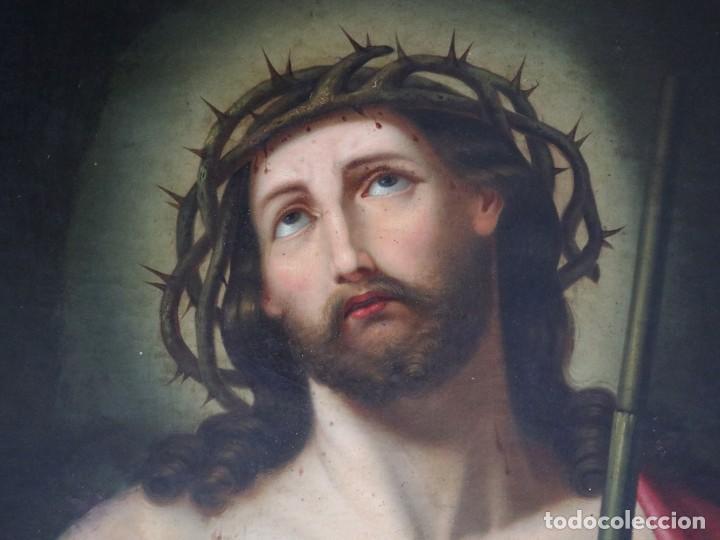 ECCE HOMO. HE AQUÍ EL HOMBRE. ESC. ESPAÑOLA DEL SIGLO XVIII. ÓLEO/LIENZO. MEDIDAS DE 68 X 55 CM. (Arte - Arte Religioso - Pintura Religiosa - Oleo)