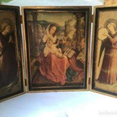 Arte: PRECIOSO RETABLO TRIPTICO RELIGIOSO EN MADERA , VIRGEN MARIA Y ARCANGELES. Lote 214124621