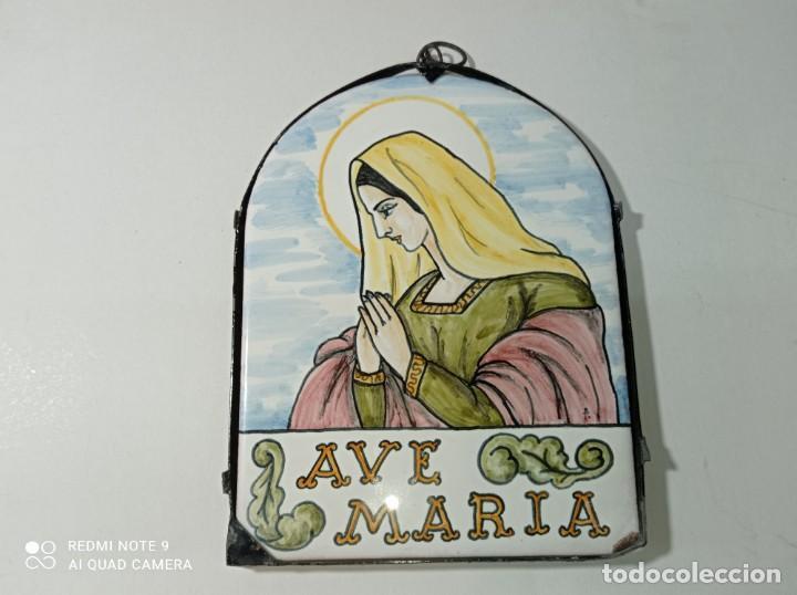 ORIGINAL AZULEJO RELIGIOSO VIRGEN AVE MARÍA MEDIDAS FOTOGRAFIADAS (Arte - Arte Religioso - Pintura Religiosa - Otros)