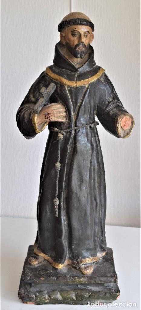PRECIOSA ESCULTURA DE TERRACOTA DE SAN FRANCISCO MUY ANTIGUA ALTURA 58 CM (Arte - Arte Religioso - Escultura)