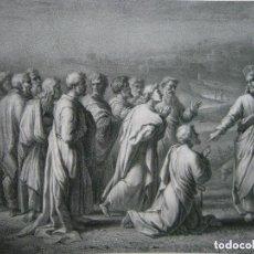 Arte: 64CM GRAN GRABADO LITOGRÁFICO LAS LLAVES DE SAN PEDRO Y SU ENTREGA POR JESUS - JACOTT BECQUET S. XIX. Lote 129326223