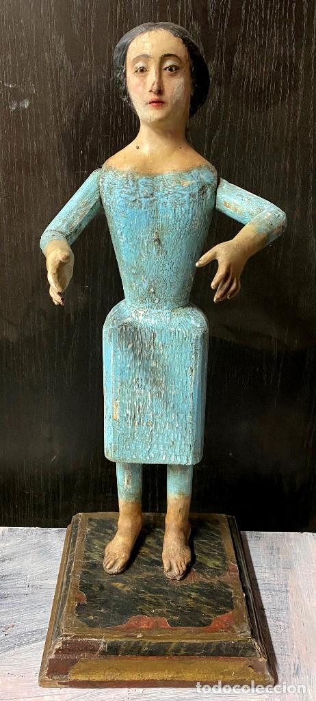 ANTIGUA DOLOROSA CAP I POTA, TALLA, BARROCA SIGLO XVIII, 65 CM ALTO. MARAVILLOSA (Arte - Arte Religioso - Escultura)