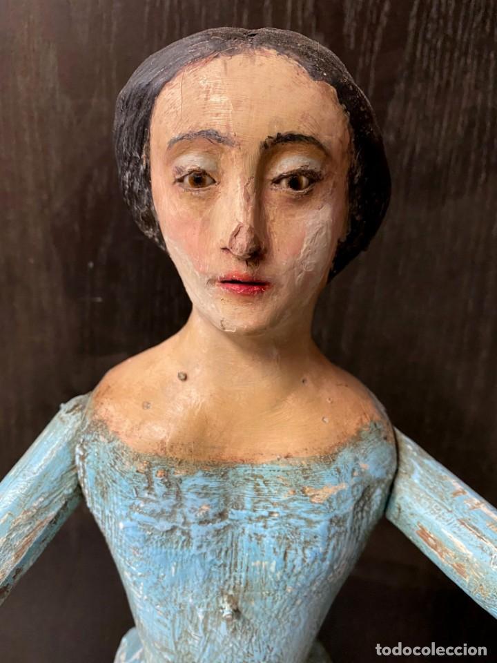 Arte: Antigua Dolorosa cap i pota, talla, barroca siglo XVIII, 65 cm alto. Maravillosa - Foto 5 - 215040623