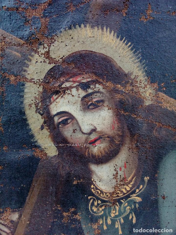 Arte: 80 cm - Cristo Caida de Jesus - gran pintura al oleo s.XVII XVIII - reentelado a restaurar - Foto 2 - 215081927