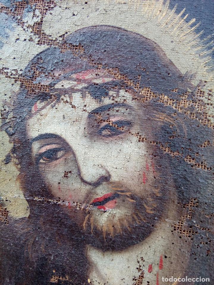 Arte: 80 cm - Cristo Caida de Jesus - gran pintura al oleo s.XVII XVIII - reentelado a restaurar - Foto 3 - 215081927