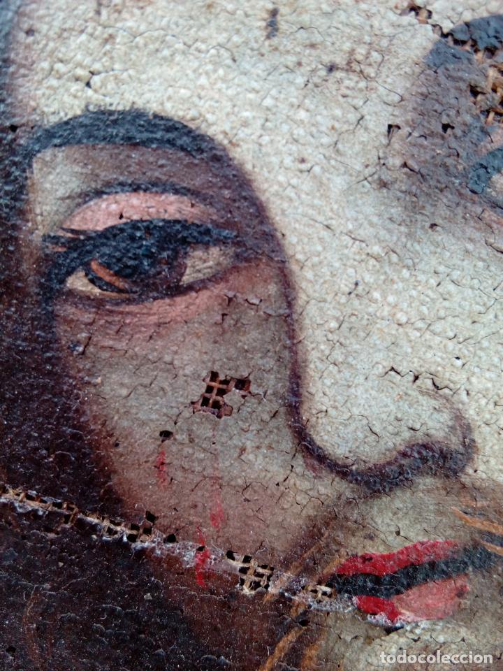 Arte: 80 cm - Cristo Caida de Jesus - gran pintura al oleo s.XVII XVIII - reentelado a restaurar - Foto 4 - 215081927