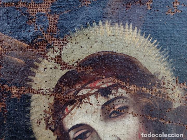 Arte: 80 cm - Cristo Caida de Jesus - gran pintura al oleo s.XVII XVIII - reentelado a restaurar - Foto 5 - 215081927