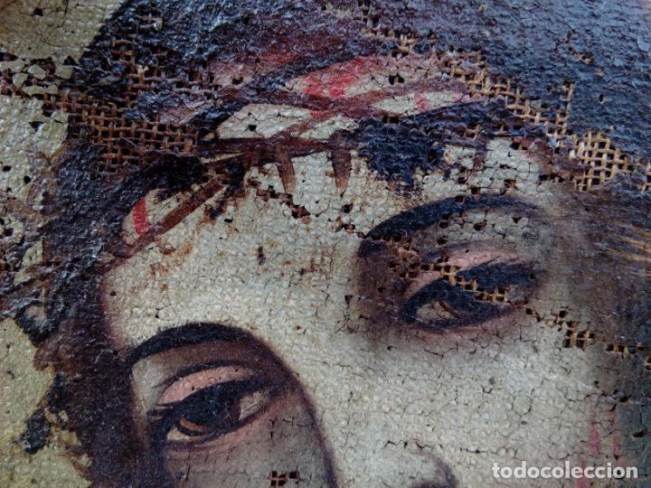 Arte: 80 cm - Cristo Caida de Jesus - gran pintura al oleo s.XVII XVIII - reentelado a restaurar - Foto 6 - 215081927