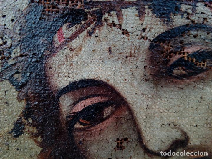 Arte: 80 cm - Cristo Caida de Jesus - gran pintura al oleo s.XVII XVIII - reentelado a restaurar - Foto 7 - 215081927