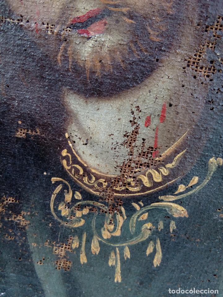 Arte: 80 cm - Cristo Caida de Jesus - gran pintura al oleo s.XVII XVIII - reentelado a restaurar - Foto 8 - 215081927
