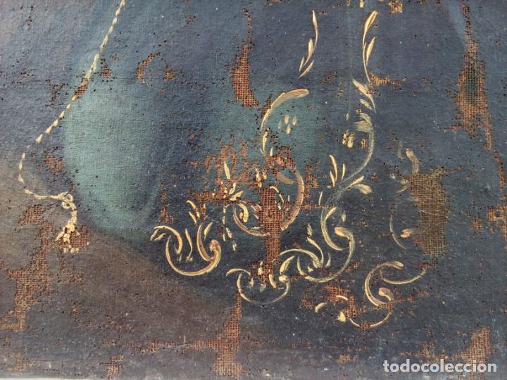 Arte: 80 cm - Cristo Caida de Jesus - gran pintura al oleo s.XVII XVIII - reentelado a restaurar - Foto 9 - 215081927
