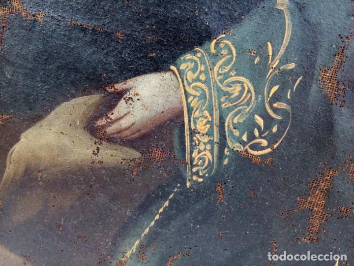 Arte: 80 cm - Cristo Caida de Jesus - gran pintura al oleo s.XVII XVIII - reentelado a restaurar - Foto 10 - 215081927