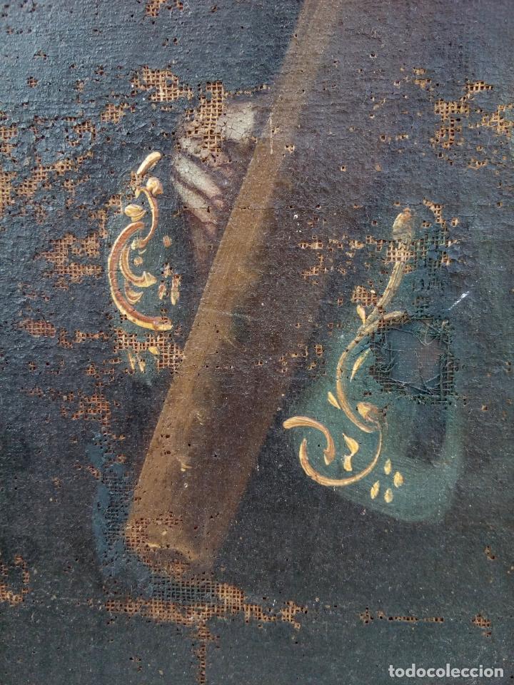 Arte: 80 cm - Cristo Caida de Jesus - gran pintura al oleo s.XVII XVIII - reentelado a restaurar - Foto 11 - 215081927