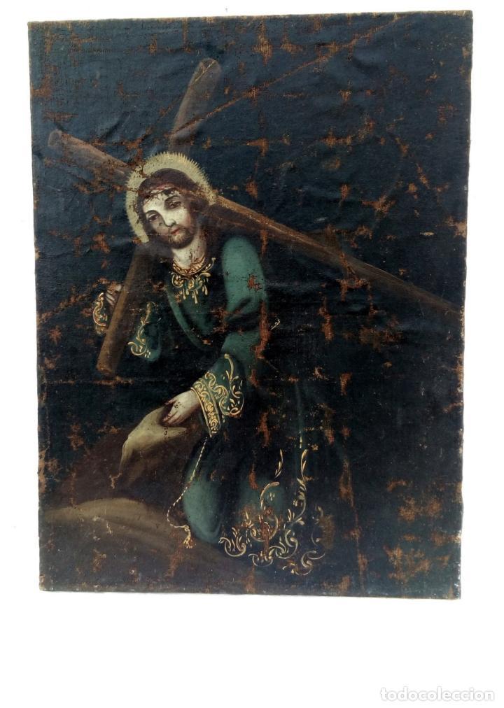 80 CM - CRISTO CAIDA DE JESUS - GRAN PINTURA AL OLEO S.XVII XVIII - REENTELADO A RESTAURAR (Arte - Arte Religioso - Pintura Religiosa - Oleo)