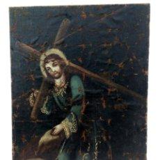 Arte: 80 CM - CRISTO CAIDA DE JESUS - GRAN PINTURA AL OLEO S.XVII XVIII - REENTELADO A RESTAURAR. Lote 215081927