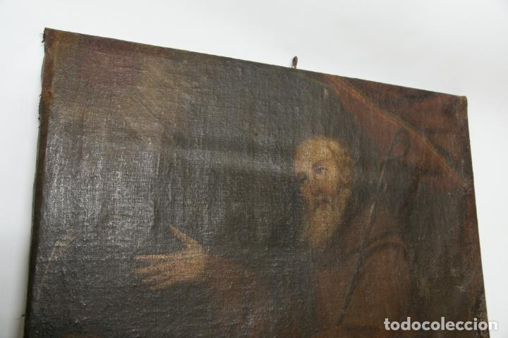 Arte: Oleo sobre lienzo San Francisco de Paula. Siglo XVI-XVII. Gran tamaño. - Foto 2 - 215240338