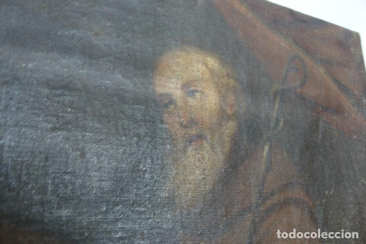 Arte: Oleo sobre lienzo San Francisco de Paula. Siglo XVI-XVII. Gran tamaño. - Foto 3 - 215240338