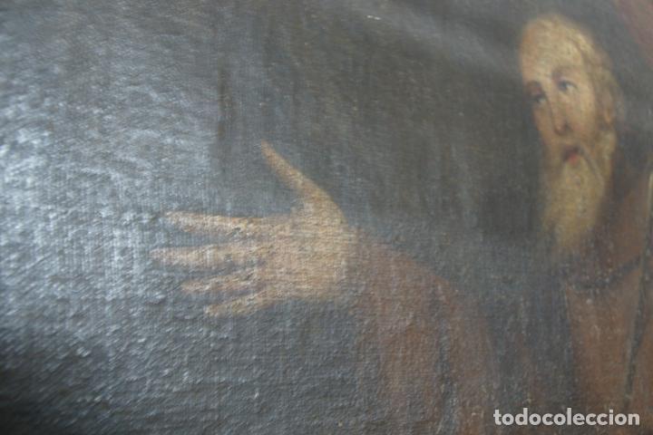 Arte: Oleo sobre lienzo San Francisco de Paula. Siglo XVI-XVII. Gran tamaño. - Foto 4 - 215240338